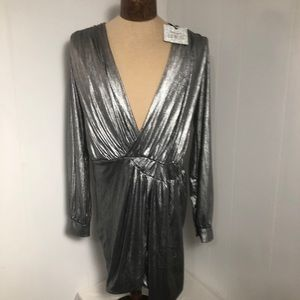 Womens Silver Dress. NEW. large  New with Tags
